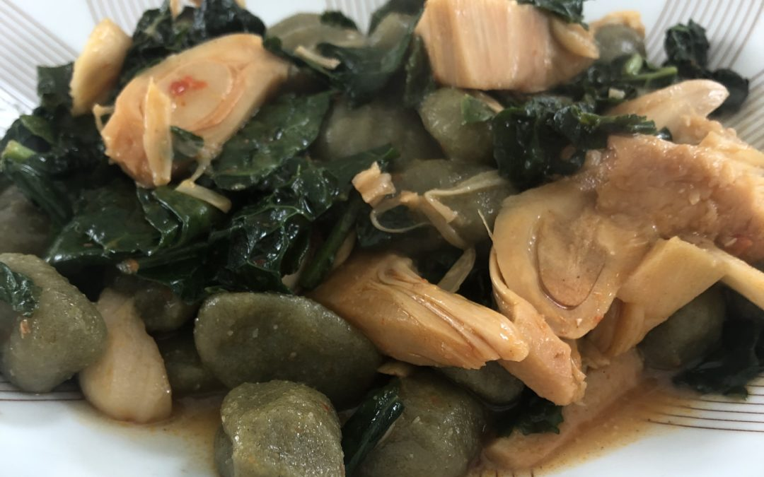 Gnocchi with jackfruit and kale