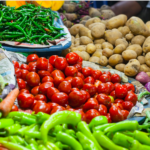 Tomatoes, green beans, and potatoes in the market