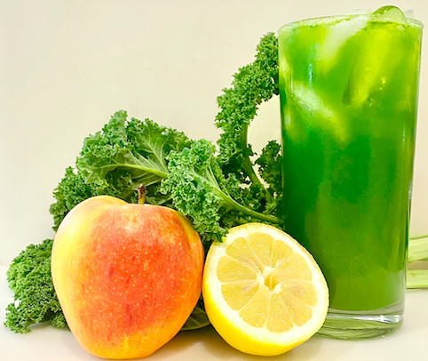 apple, lemon, and kale with green juice