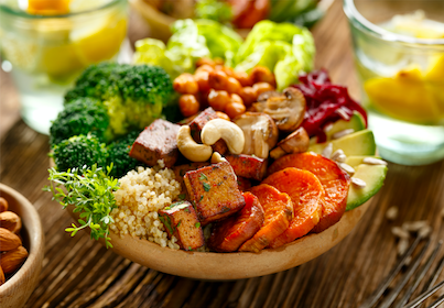 Budha bowl with vegan protein foods